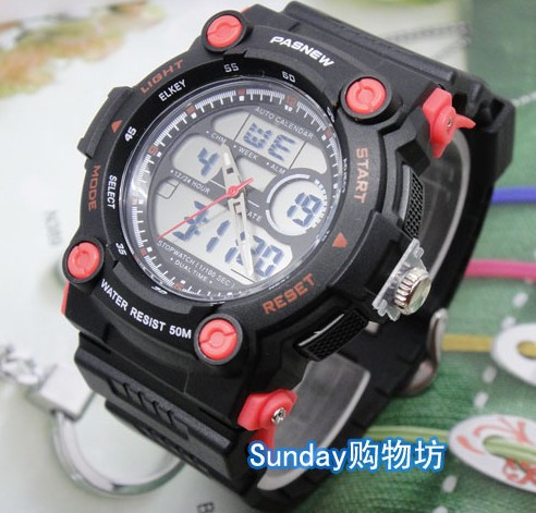 367a submersible waterproof dual display fashion sports male table electronic timing alarm clock vintage watch(China (Mainland))