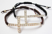 Full crystal rhinestone gold cross bracelet free shipping ,Min order $15