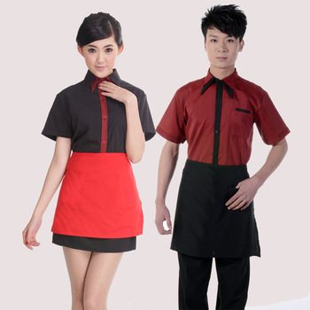 [10pcs/free ship] Short-sleeve summer work wear waitress uniforms aprons  Western style uniform