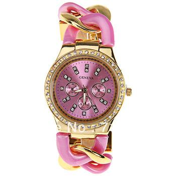 Original PictureGeneva Quartz Watch with Diamonds Strips Indicate Plastic and Steel Band for Women (Pink)