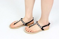 2013 + new large size / sandals flat shoes clip toe shoes diamond fashion Rome style / Adhesive shoes