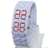 Pure White Lava Mens Male Teenagers LED Display Sport Quartz Digtal Bracelet Watches. Free & Drop Shipping
