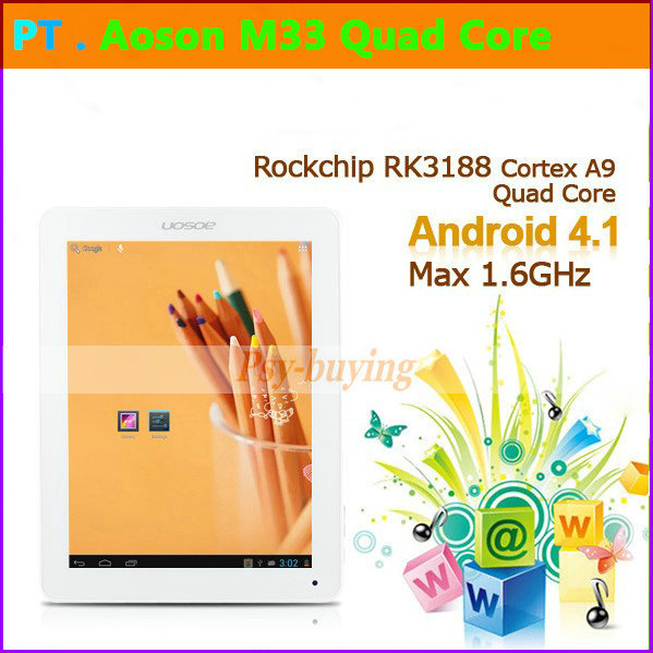 "Hottest 9.7"" Retina Screen 2048x1536 Android 4.1 Aoson M33 RK3188 Quad Core 2GB RAM 16GB Tablet PC(China (Mainland))"