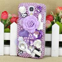 Fashion Purple Anna Su Luxury 3D Flower Crystal Heart Wonderful Case Cover For Samsung Galaxy S4 I9500 Free Shipping