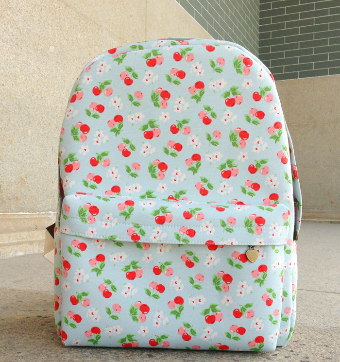 2013 backpack female bags canvas cherry backpack casual school bag(China (Mainland))