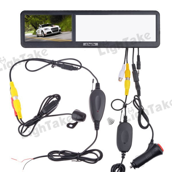 Free shipping 4.3 inch Bluetooth Rear View Mirror with GPS Navigation + Wireless Back Up Camera (Model: SJ4316BL+RC02)(China (Mainland))