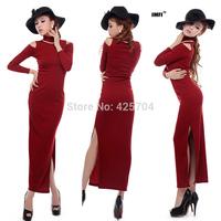 2014 spring vintage slim cheongsam placketing slim long-sleeve turtleneck sexy strapless dress full dress free shipping