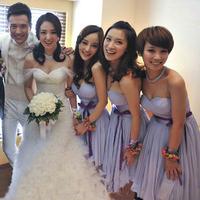 Design short formal dress bridesmaid dress formal dress banquet small short skirt d-013