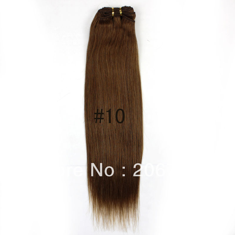 Remy Human Hair Weft 100g/set Free Shipping Ash Brown 26inch Color#10 Quality Good Price(China (Mainland))