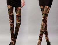 New fashion lady Camo Trousers/Pants/Leggings Wholesale Sexy women Seamless Army Skinny/Crop Tights Free size Mixed colors