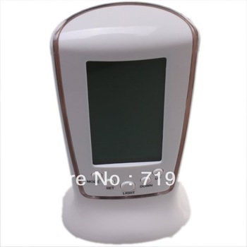 Fashion White Digital LCD Alarm Clock Calendar Thermometer Backlight Free Shipping 750065