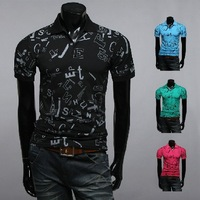HOT!Free Shipping Men's Summer by letters printed short-sleeved Paul collar T-shirt 4color