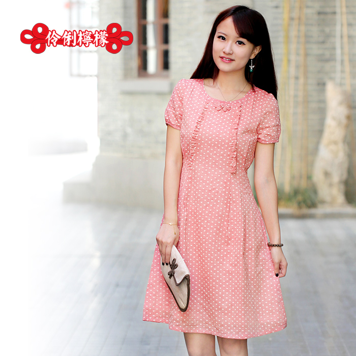 Lemon original design short-sleeve women&#39;s summer one-piece dress chinese style 10127 blusher national trend fluid(China (Mainland))