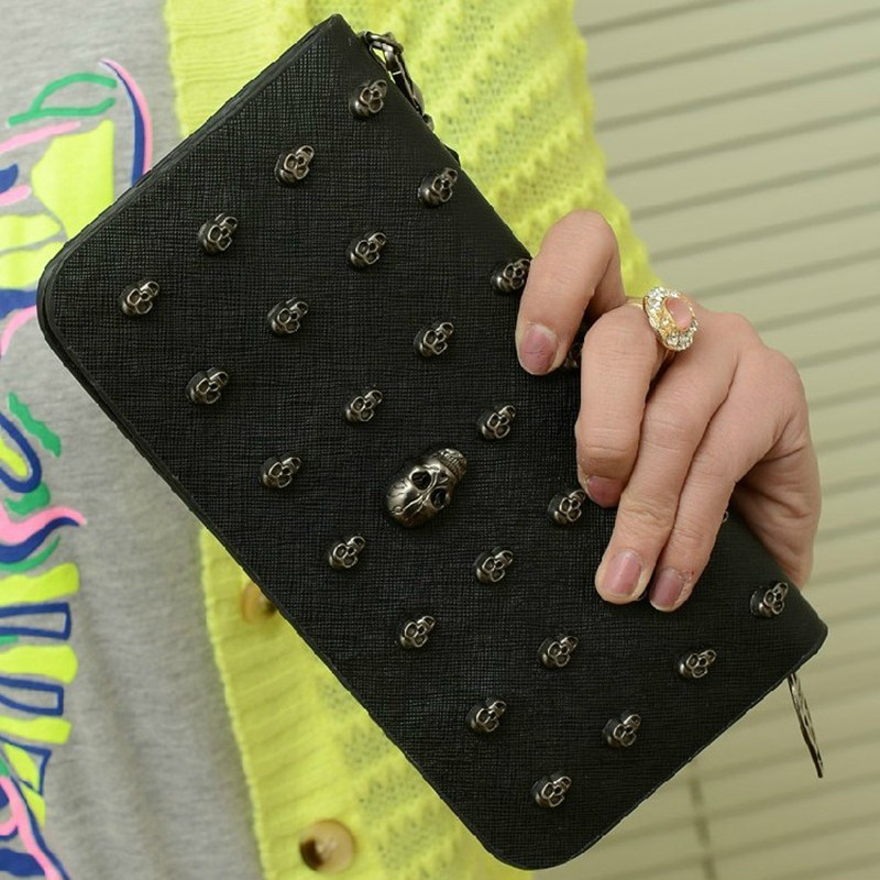 On sale Fashion long design 2013 women's handbag rivet skull wallet women's handbag(China (Mainland))