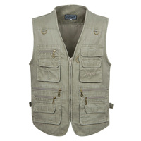 Free Shipping Man Multi-pocket Plus Size Fishing Vest The Older's Photography Waistcoat  Beige/Khaki/Army Green XL-5XL VT-041