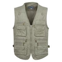 Free Shipping Man Multi-pocket Plus Size Fishing Vest The Older's Photography Waistcoat  Beige/Khaki/Army Green XL-5XL VT-041