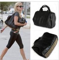 pu leather 2013 Fashion black star rivet shoulder bag women's handbag