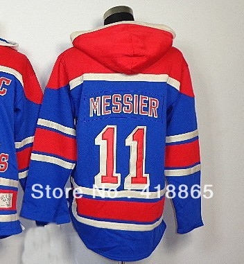 Wholesale&amp;Retail 2013 Mens Cheap New York #11 Messier Old Time Hockey Blue Sawyer Lace Up Pullover Hooded Sweatshirt(China (Mainland))