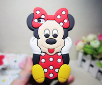Wholesales~10pcs/lot New Arrival Cute 3D Mickey Minnie Mouse Silicone Back Cover Case For iphone 4/4s,Freeshipping