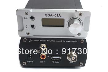 Free shipping New Black&Silver SDA-01A 0~1W FM PLL Radio Broadcast Transmitter + antenna + power supply set PC control 76~108MHZ