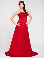 Lost in City Nights! Party Dress Prom Dress A-line Strapless Sweep/ Brush Train Satin Bridesmaid Dress