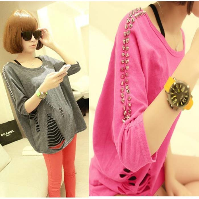 Free Shipping Fashion 2013 New Summer Punk Rock Style Sexy Woman Grey or Rose Red T-shirt With Rivet(China (Mainland))