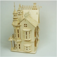 DIY 3D wooden model building puzzle mini wooden doll house miniature cottage