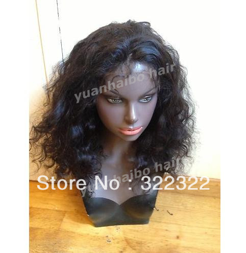 wholesale 12inch 1b# top quality real indian human hair loose wave front lace wig free shipping(China (Mainland))