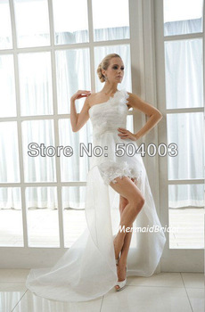 Unique Design Front Short Long Back One Shoulder Bridal Gown Wedding Dress Free Shipping