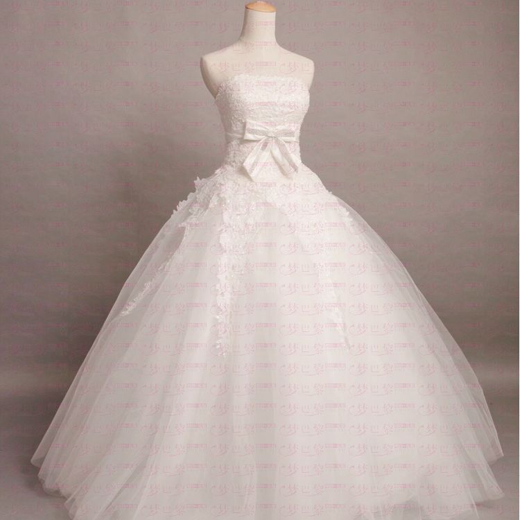 2012 puff skirt tube top physical wedding princess wedding qi wedding dress(China (Mainland))