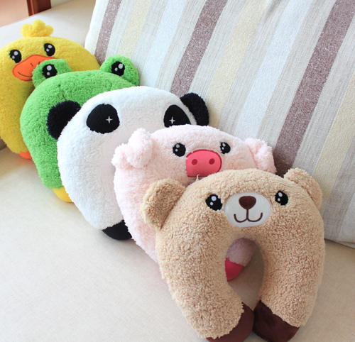 Cartoon animal pillow neck pillow health care pillow car neck pillow multicolor(China (Mainland))