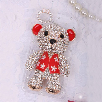 Free shipping /3 colours/Rhinestone beling Crystal Diamond pearl Hard phone Case Cover for iphone4G/4S,3D lovely bear
