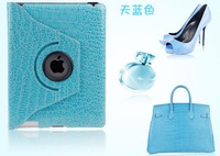 Free shipping! 100%  Crocodile pattern rotation colorful case protective sleeve cover back bags for Apple iPad 2/3/4