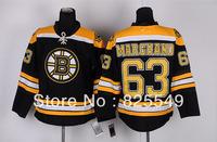 Free Shipping,  Wholesale Ice Hockey Jersey,Boston  #63 Brad Marchand Black Jerseys,Embroidery logos,Size 48-56,Mix order