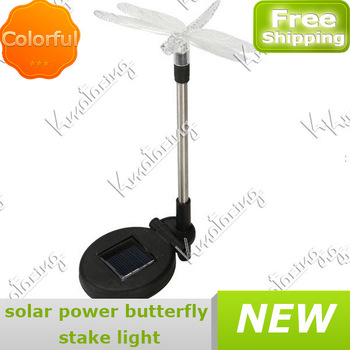 New Stake Outdoor Led Solar Lamp led Landscape Garden Yard lighting Powered Pathway Change Color For Dragonfly free shipping