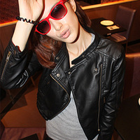 free shipping women  Vintage Notched Lapel Punk Studded PU Faux Leather Biker short Jacket black Cool