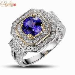 Wholesale Jewelry Solid 14K Multi-Tone Gold Natural Diamond Round 1.46ct AAAA Tanzanite Engagement RING Free Shipping(China (Mainland))