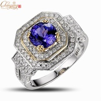 Wholesale Jewelry Solid 14K Multi-Tone Gold Natural Diamond Round 1.46ct AAAA Tanzanite Engagement RING Free Shipping
