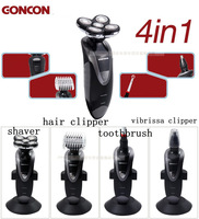 Free Shipping 4 In 1 Washable Rechargeable Shaver With Five/5 Heads Blades Hair Clipper Trimmer Toothbrush MT-043