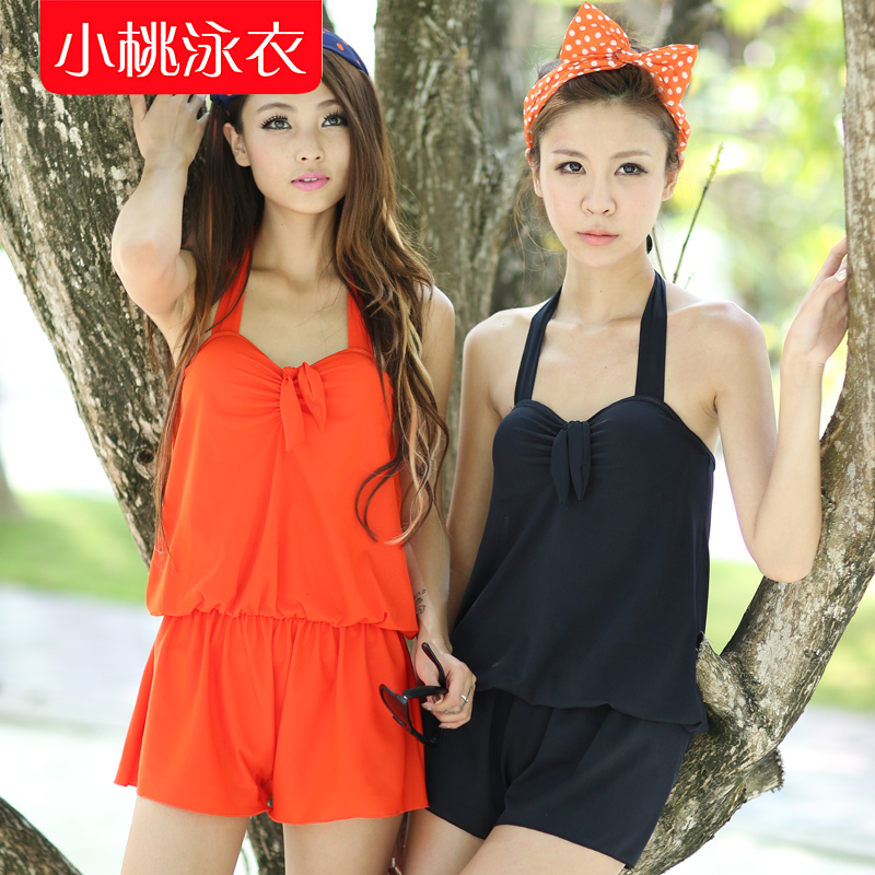 Small peach swimwear 2013 brief solid color one-piece dress piece set steel swimwear(China (Mainland))
