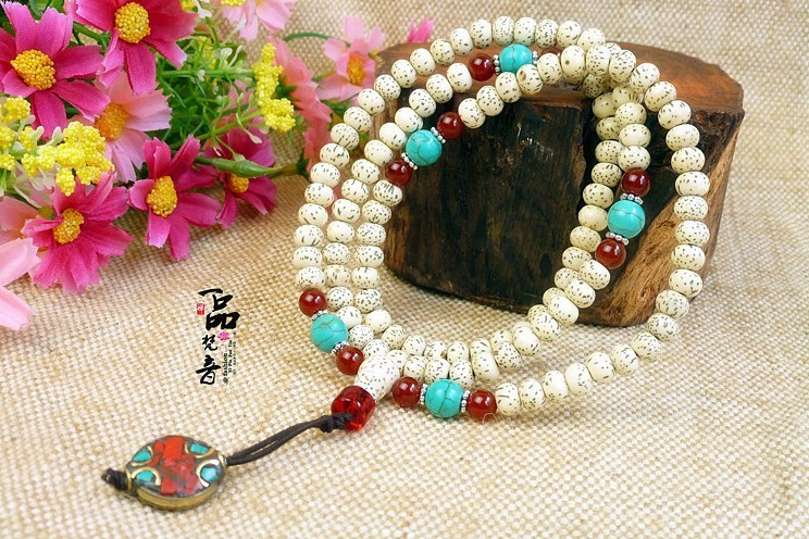 Bleaching Xingyue Pu Tizi prayer beads bracelet 108 Flat Beads 5 * 7MM with glass beads(China (Mainland))