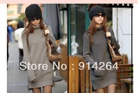Lady Winter Cowl Neck Pocket Knitted Pullover Jumper Sweater Cardigan Mini Dress     free shopping
