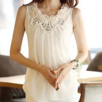 2013 summer women's slim chiffon shirt plus size sleeveless basic small vest