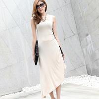 2013 women's slim hip slim one-piece dress irregular drawstring basic sleeveless tank dress