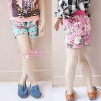 2014 Free Shipping Children Kids Beach Jeans Shorts Pink and Blue Fashion Casual Girls Denim Flower Shorts
