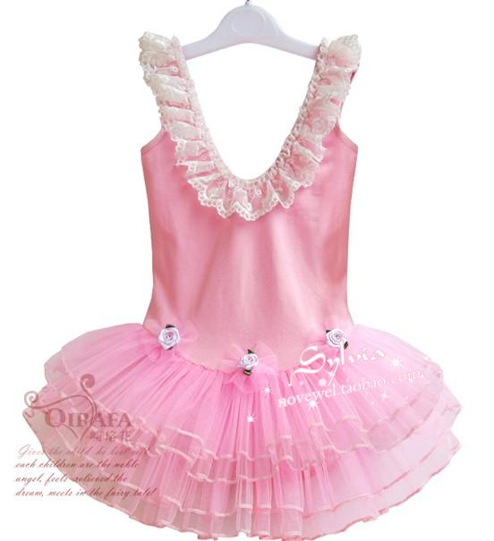Child dance clothes female child ballet dance clothes costume sleeve length lace ballet skirt(China (Mainland))