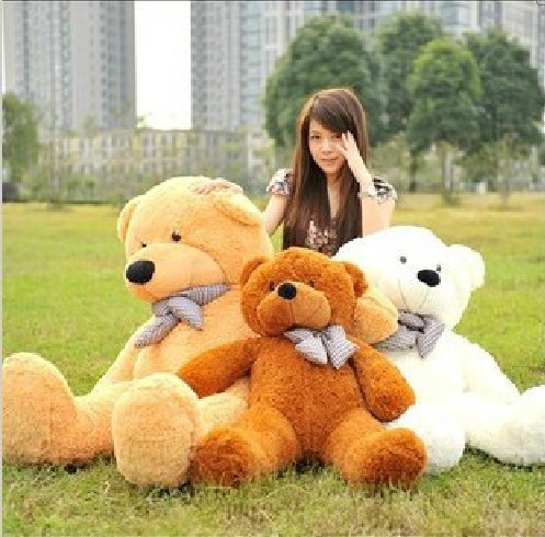 100CM/39'' Giant Huge milky plush teddy bears Holiday Gifts Christmas Stuffed Plush Toys free ship(China (Mainland))