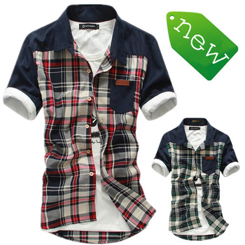 Free Shipping 2013 designer Summer new mens fashion plaid brand short sleeves shirts casual  shirt men size:M-XXXL