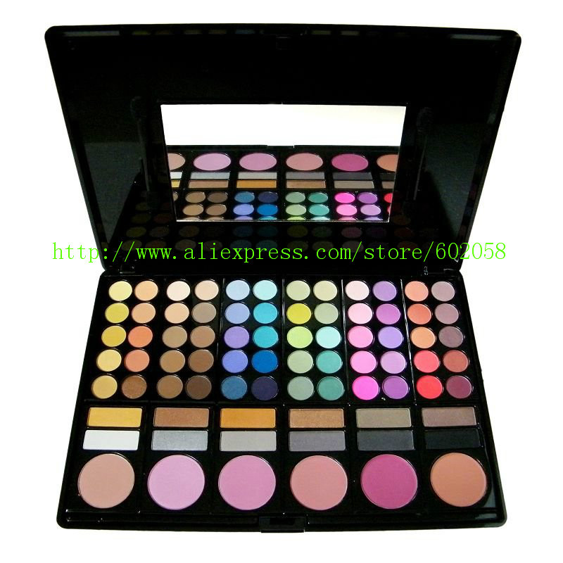 wholesale New Unique 78 colors makeup palette eye shadow + cheek + grooming + lip gloss set 20sets/lot free EMS shipping(China (Mainland))