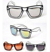 100% UV resistance material fashion big reflect light women sunglasses(4color mix)SN-017 Free shipping